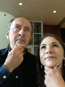 Student Katy Day taking a selfie with Billy Collins at Blackbird Poetry Festival 2014.