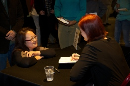 Laura Yoo gets her book signed by Emma Donoghue. Photo by Lee Waxman